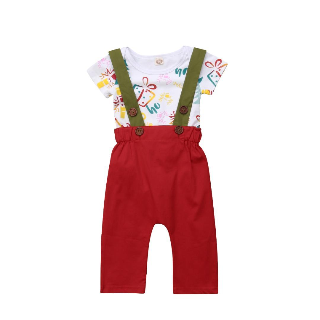 Toddler Baby Boy Girl Short Sleeve Jumpsuit Romper+Red Pants Floral Print Shirt Overall Suspender Trousers Outfits