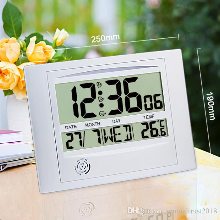 Digital Lcd Wall Clock With Temperature Alarm Snooze Desk Calender Household Thermometer White H104 Large Kits Roman