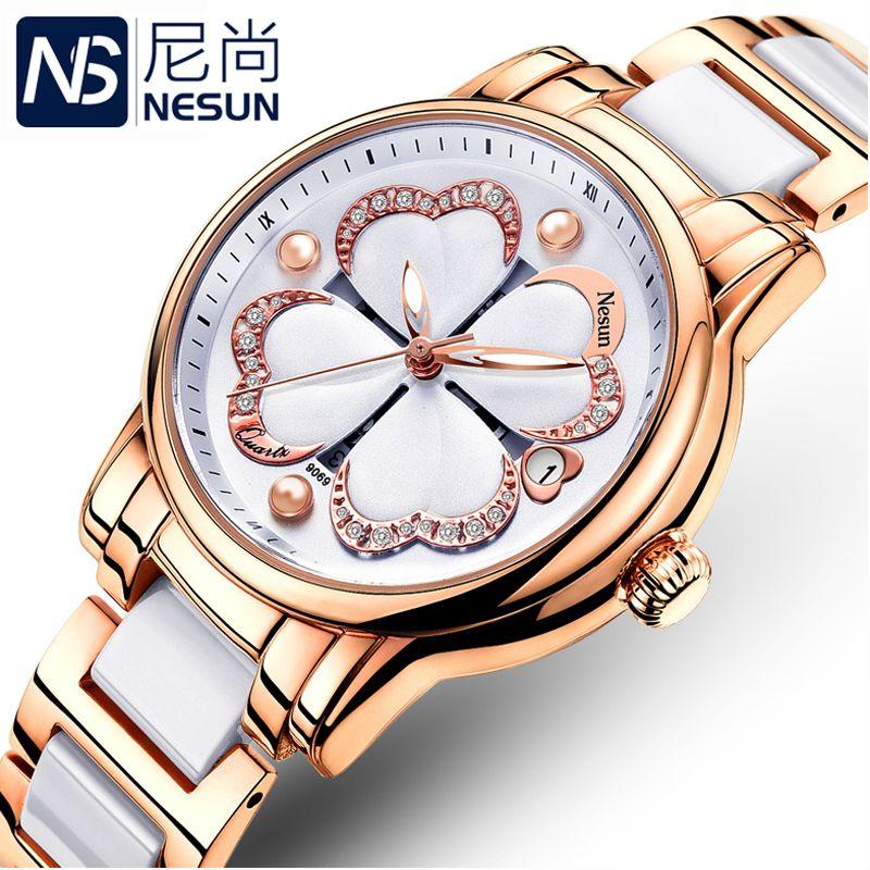 28206845ec9b Compre Suiza Nesun Relojes De Mujer De Lujo Marca De Cuarzo Reloj De Pulsera  De Mujer Relogio Feminino Reloj De Pulsera De Diamantes N9069 3 S917 A   80.16 ...