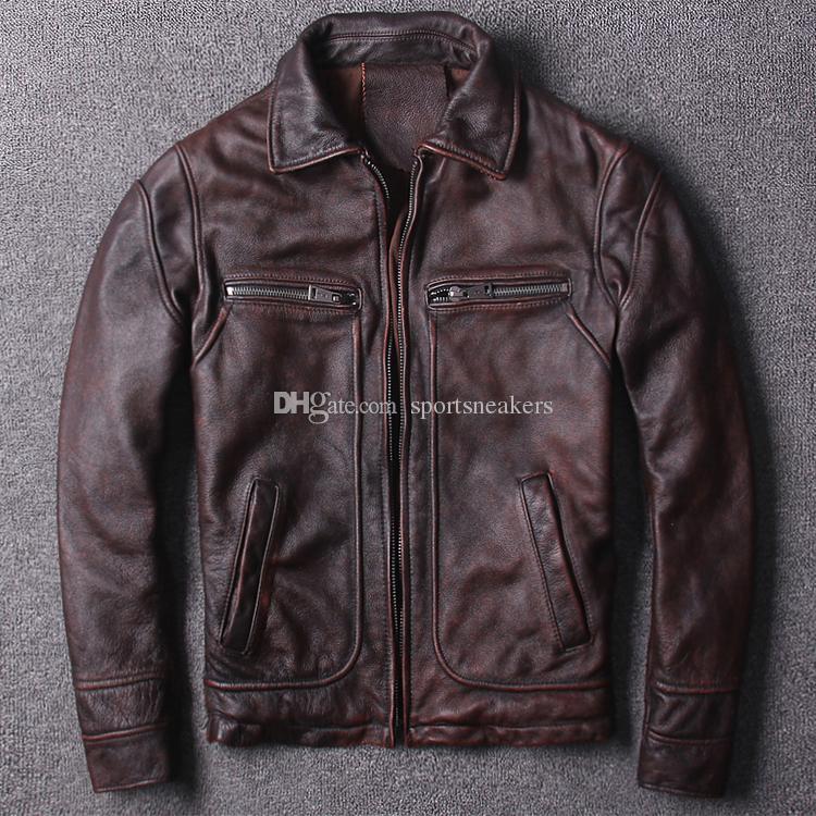 b4d9906e11fc15 Großhandel AMEKAJI Motorradbekleidung Erste Schicht Aus Echtem Leder Retro  Vintage Mantel Herren Slim Lederjacke Von Sportsneakers, $190.06 Auf  De.Dhgate.
