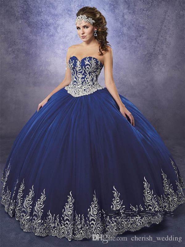 fb524ecbd3 Compre Vestidos De Quinceanera Azul Marino 2018 Vestido De Fiesta De