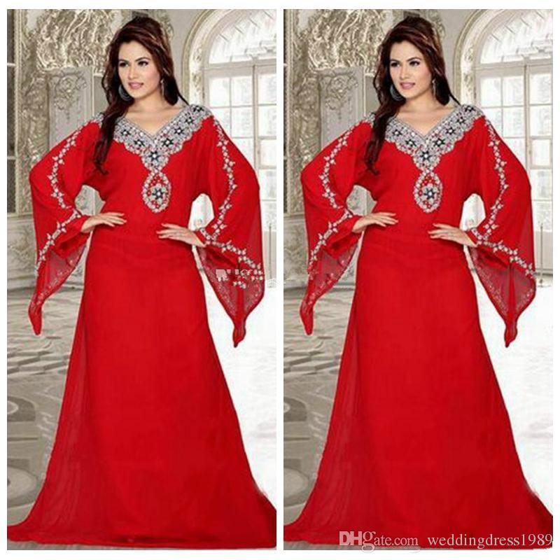 Moda de talla grande Cuentas de cristal Vestidos de noche Talla grande Gasa Árabe Africana Talla grande Fiesta de baile Vestido para mujer musulmana Vestidos Ropa formal