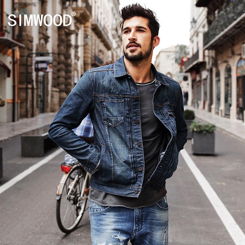 100Baumwolle neue Jacke Mode 2018 Jeans Männer SIMWOOD NJ6510Y1882203 Denim Herbst Streetwear Jacke Winter PTOZkiuX