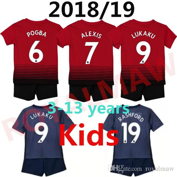 7a2364420 Manchester United Kids Kit Soccer Jersey 1819 Junior Shirt Shorts Home Away  Third Child Youth Niño Camiseta Enfant Maillot ManUtd POGBA 2019 UK 2019  From ...