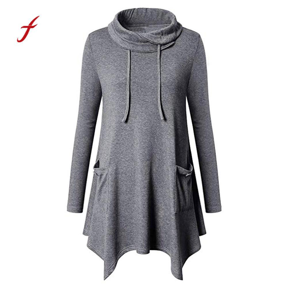 a7c5e81511a 2019 Womens Tops And Blouses Long Sleeve Cowl Neck Asymmetrical Hem Tunic  Tops With Pockets Plus Size Irregular Hem Dropshipping From Wenshicu, ...