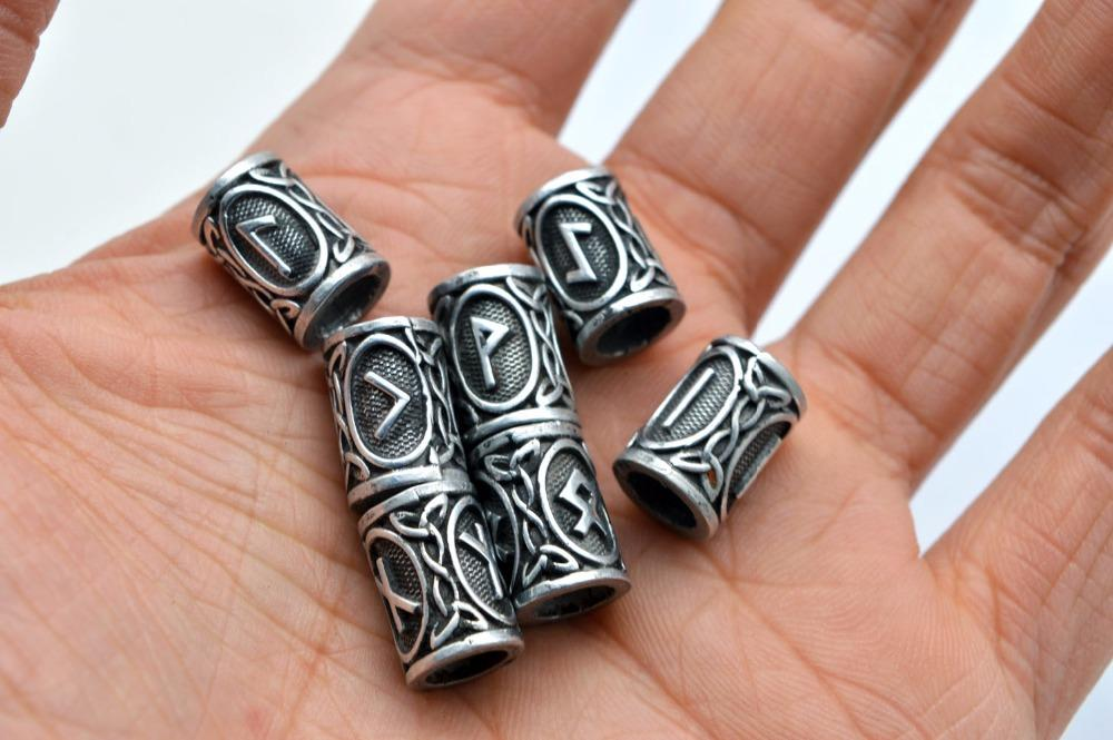 Silver Viking Runes Beads Charms Findings for Bracelets for Pendant Necklace DIY for beard or hair Real Photoes