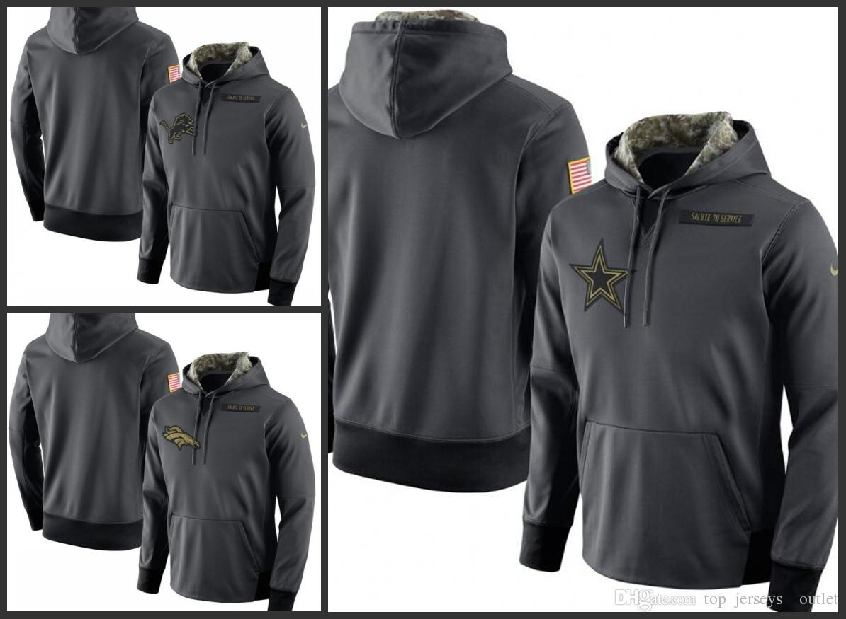 timeless design aa68d dc151 Detroit Lions Denver Broncos Dallas Cowboys Men Anthracite Salute to  Service Player Performance Hoodie