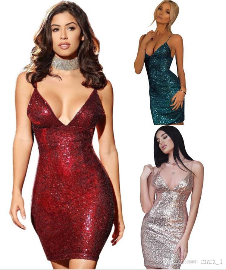 1e585266839 2019 Women Party Dress Sequins Spaghetti Strap Mini Dresses Bodycon Sexy  Night Club Glitter Formal Dress Deep V Neck Bling Bling Short Skirts DHL  From ...
