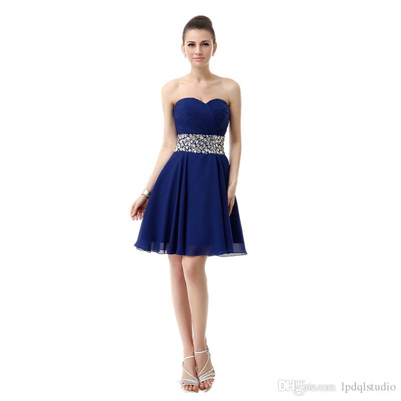 Sexy Summer Short Cocktail Dresses Chiffon Party Dress Shininig Peplum Royal Blue,Red Homecoming Dresses Cheap Royal Blue,Red,Black