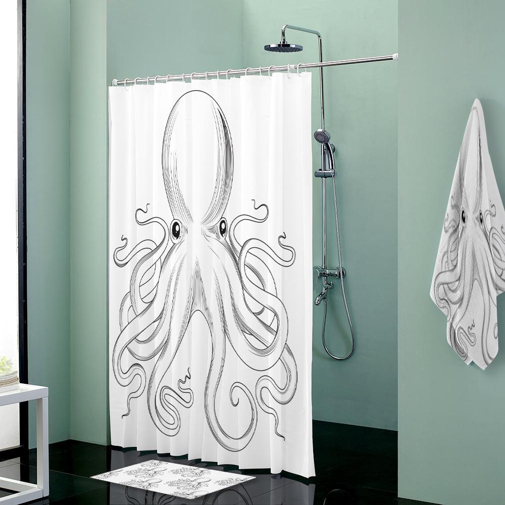 Custom Shower Curtains Set Towels Shower Curtain & Bath Mat & Towel ...