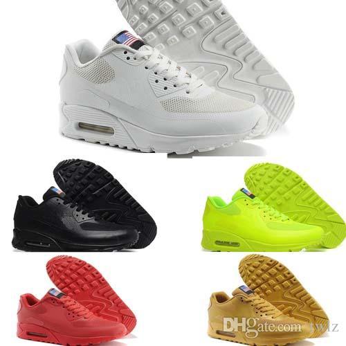 Nike Air Max 1 87 90 AirMax 2018 NEU 90 HY PRM QS Herren Damen Laufschuhe 90er Jahre HyperS Sicherung Amerikanische Flagge Schwarz Weiß Marineblau