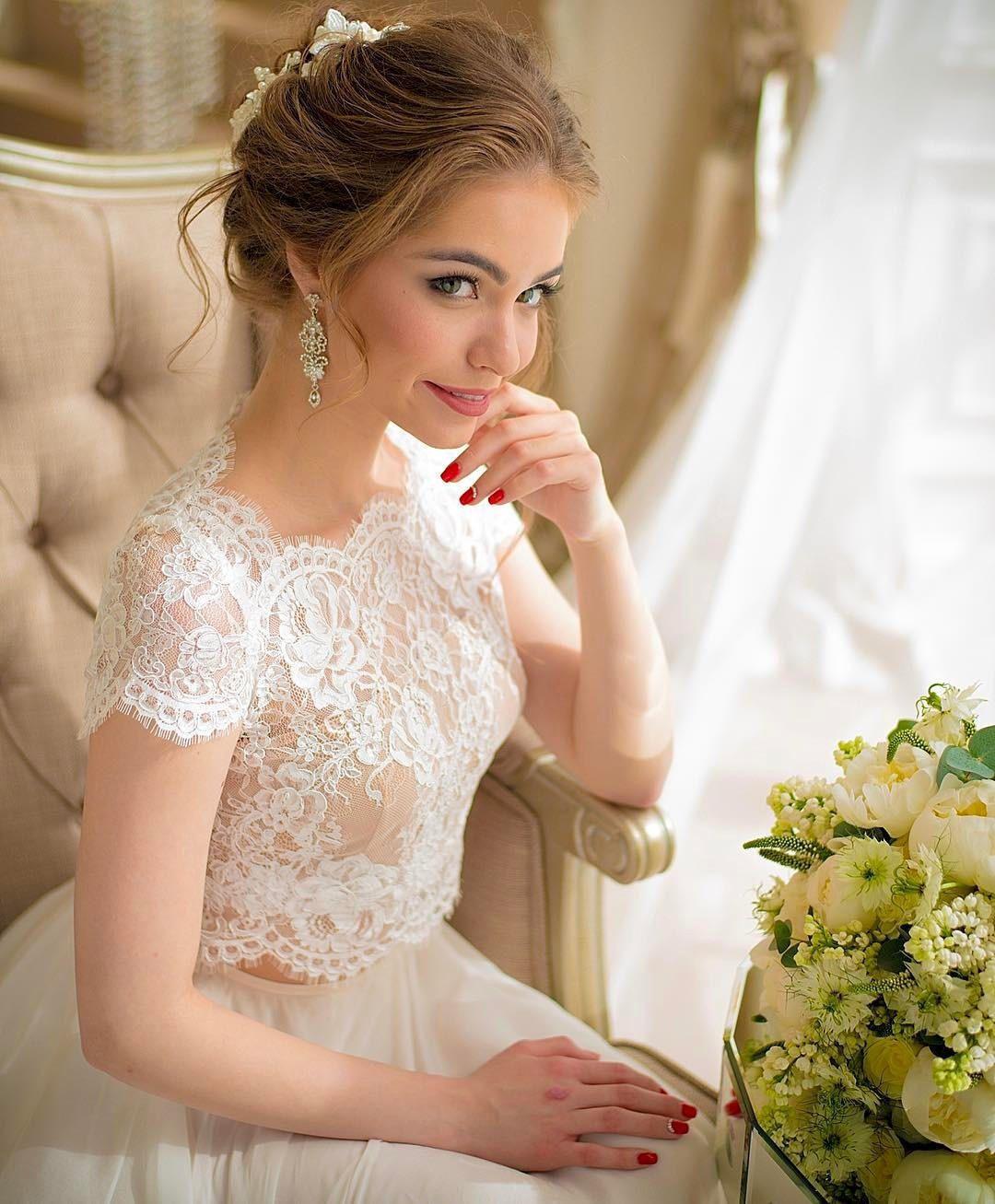 Elegant white Ivory Lace Wedding Jackets Short Sleeve Top Bride Wraps Accessories Custom Made