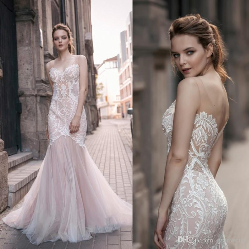 Milva Bridal 2018 Country Backless Wedding Dresses Blush Pink Lace ...