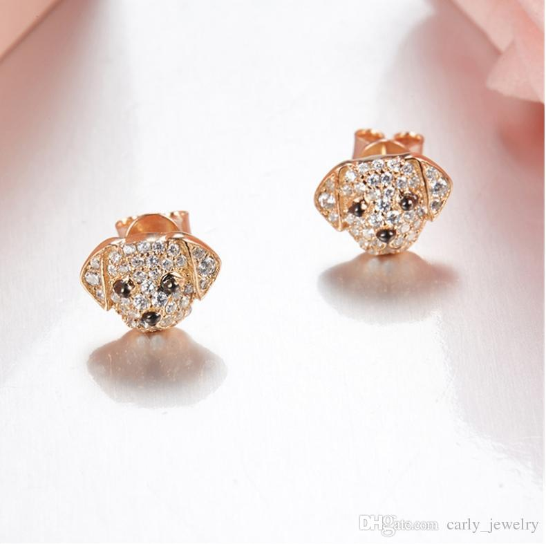 New Fashion Jewelry S925 Sterling Silver Cubic Zircon Lovely Animal A B Style Dog Puppy Design Stud Earrings