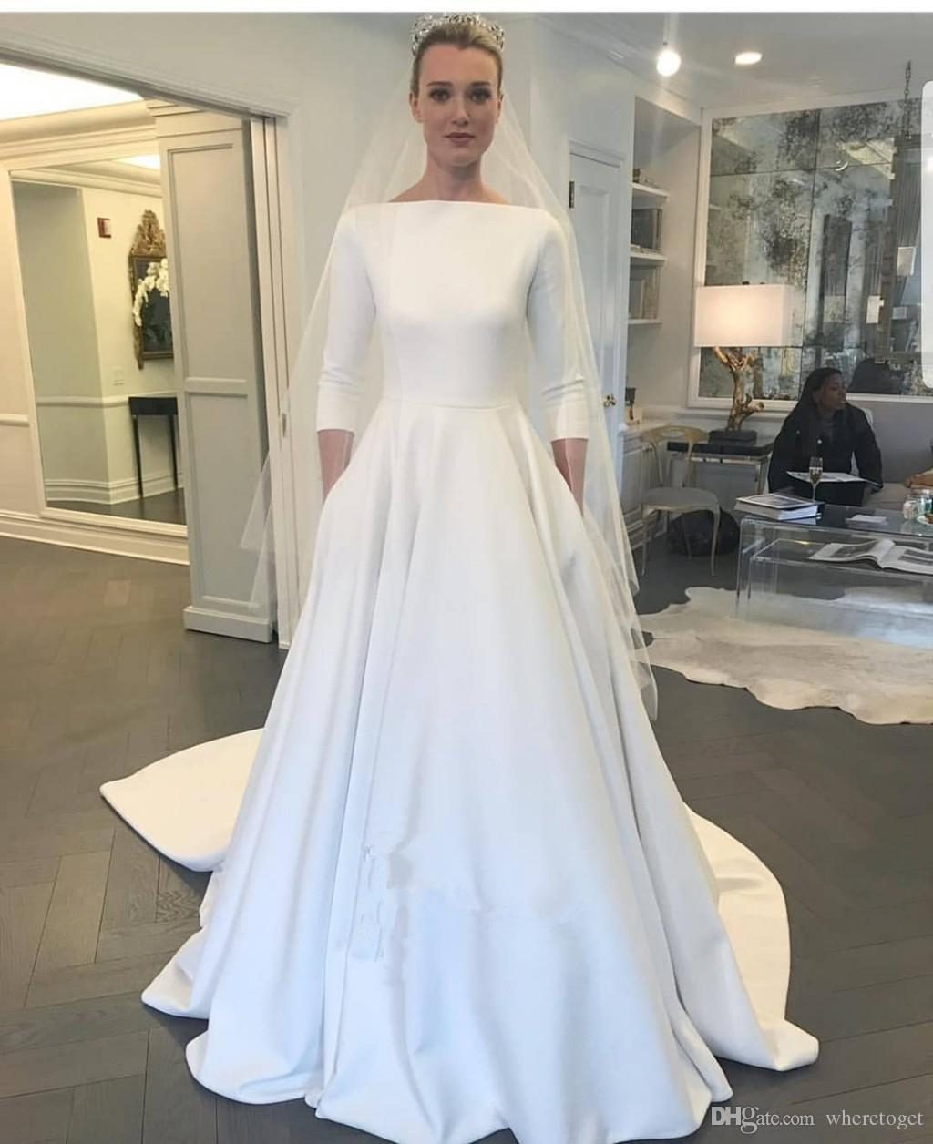 Satin Long Sleeve Wedding Dresses