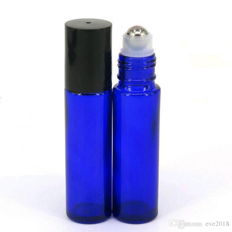 10ml 1 / 3oz Roll on Glass Bottles 블루 향기 에센셜 오일 향수 금속 롤러 볼 아로마 테라피 병 LX1154