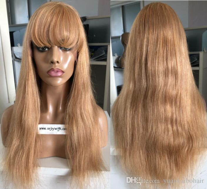9A Grade Honey Blonde Full Lace Wigs with Bang European Virgin Human Hair Straight Gluelss Lace Front Wigs for Black Woman