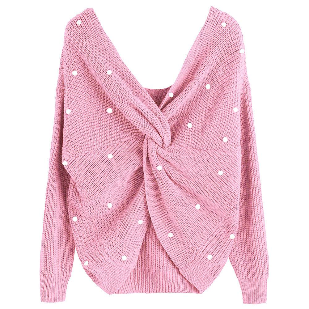 31ac18bb6b Wipalo Pearl Beading V Neck Twist Sweater Sweet Burgundy Women Pullovers  Knit Jumper Long Sleeve Casual Solid Sweater Pull Femme D1891902 Online  with ...