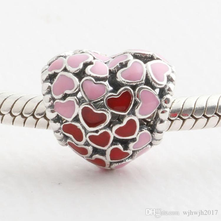Valentine's Day Collection Authentic 925 Sterling Silver Bead Hollow Pink Red Enamel Heart Charm Fit European Women Bracelets DIY Jewelry