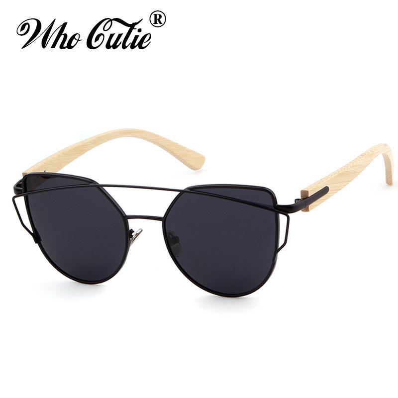 838292ee3374 WHO CUTIE 2018 Women Cat Eye Polarized Sunglasses Black Shades Brand  Designer Retro Metal Frame Wood Bamboo Arm Sun Glasses 489 Sunglasses For  Men ...