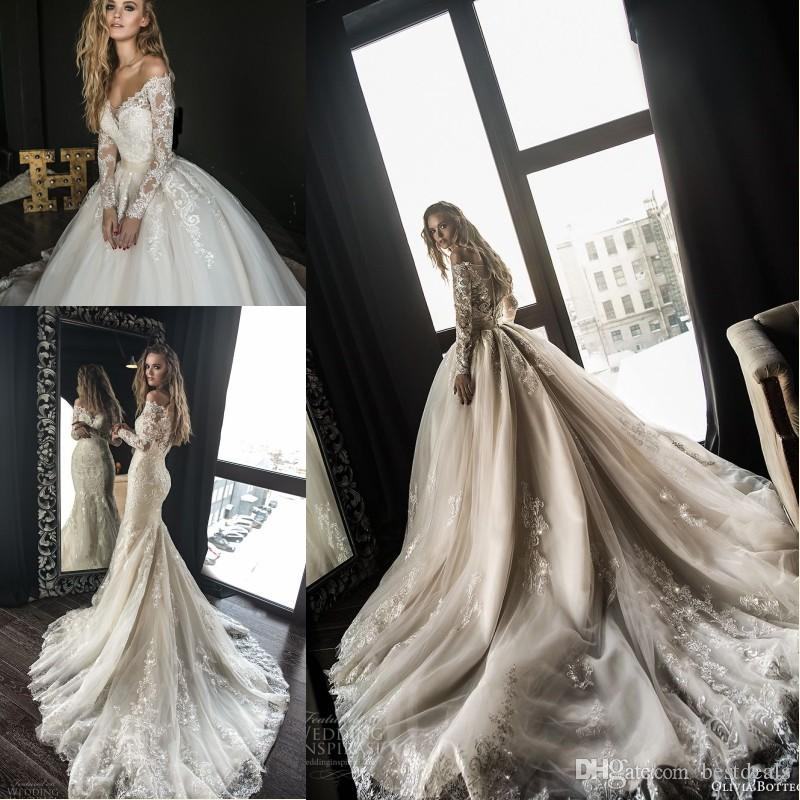 f0de14c001e Discount 2018 Gorgeous Designer Mermaid Wedding Dresses With Detachable  Train Arabic Dubai Off The Shoulder Long Sleeves Lace Wedding Bridal Gowns  Simple A ...