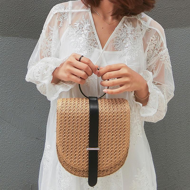 Fashion Popular Woven shoulder bag Weave Straw Beach Bags girl's Summer 2018 Ladies Handbags Soft Vacation Grass Bags Cute pouch