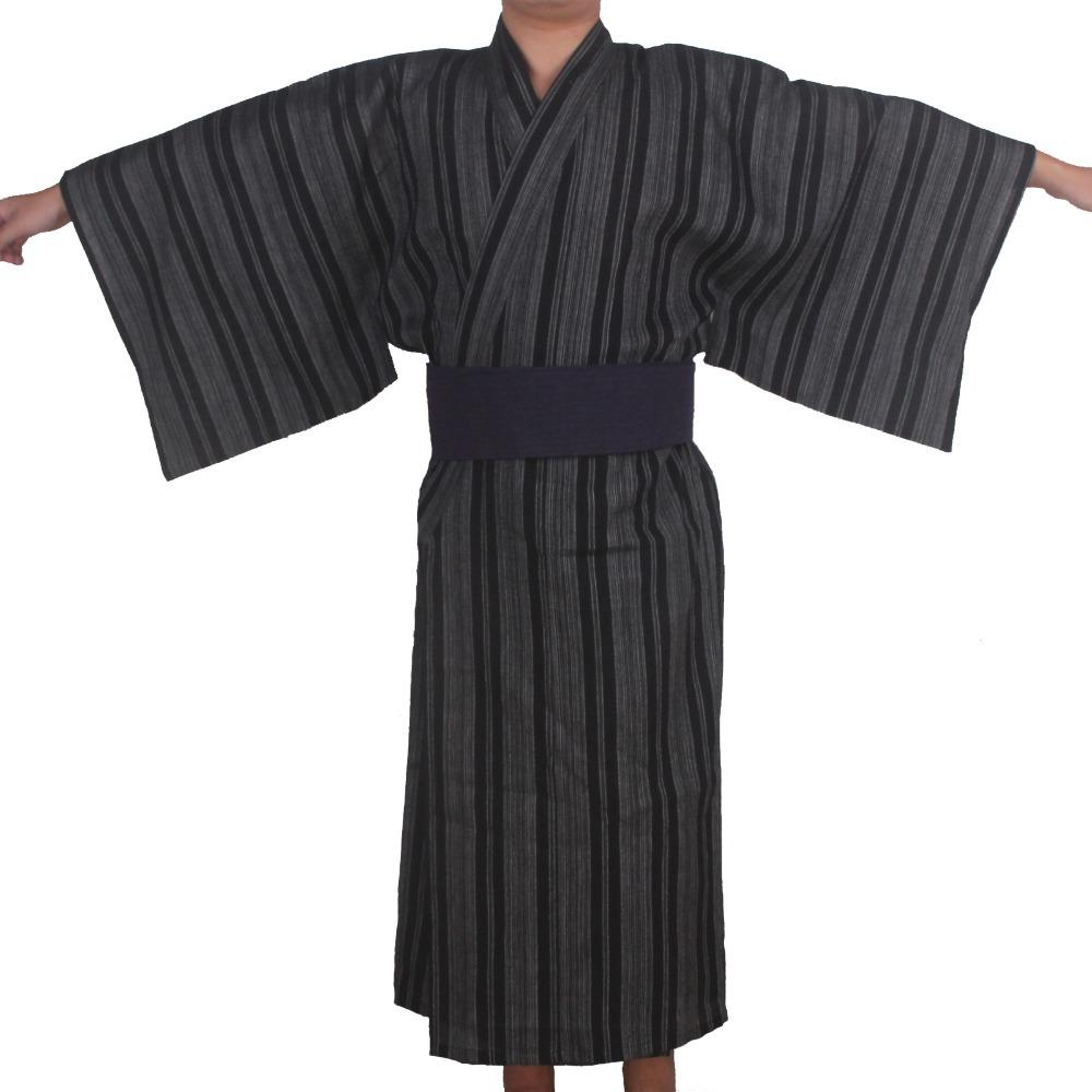 Autumn Traditional Japanese Kimono Pajamas Costume with Obi Men ...