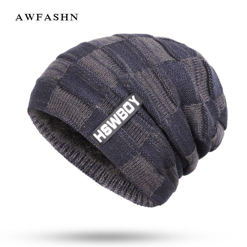06df74e19bdc60 2019 2018 New Fashion Brand HSWBOY Knit Beanie Hat Winter Striped Plaid Plus  Velvet Thicken Hedging Cap Warm Man Male Bone Skullies From Longanguo, ...