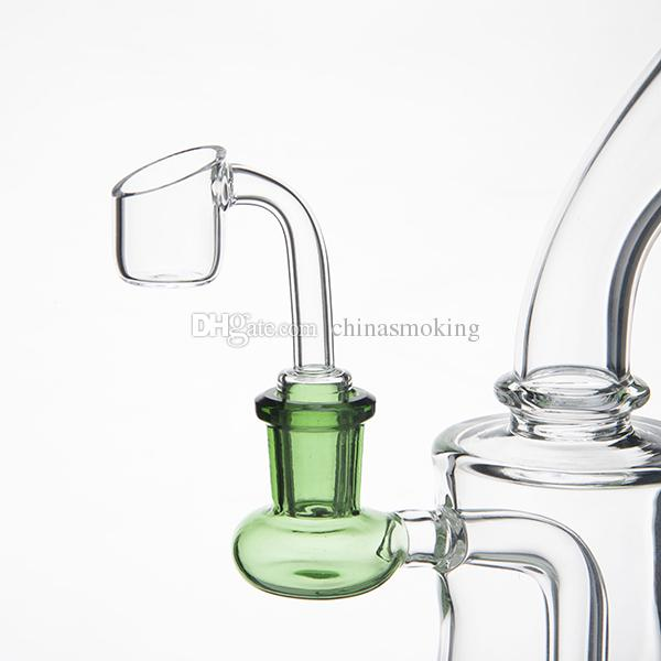 Glass Bong Oil Rig With 2MM quartz banger 7.5 Inch Thick Glass Bongs Female Joint 14MM Bubbler Water Pipe