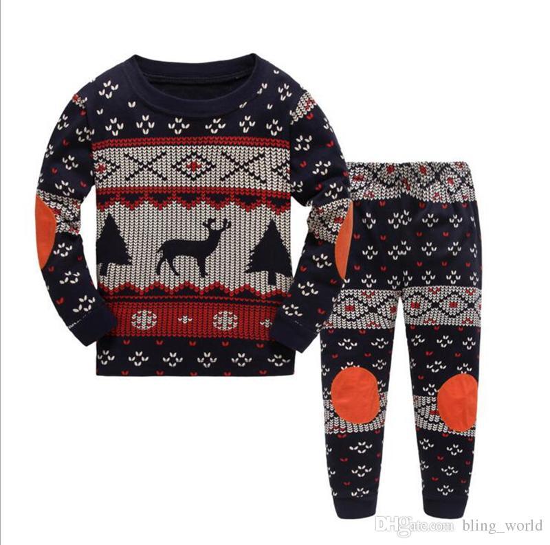 99ca9151e 2019 Christmas Kids Clothing Set Baby Designer ELk Full Print ...