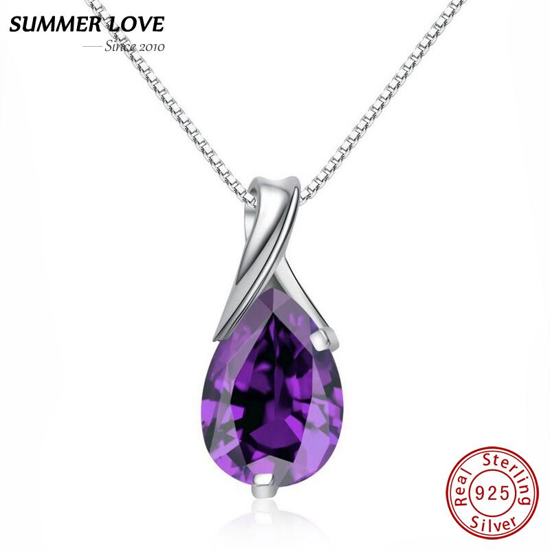 Purple Crystal Amethyst Pendant Necklace With Chain Real 925 Sterling Silver Fine jewelry For Women Jewellery 2017 DropshippingY1882701