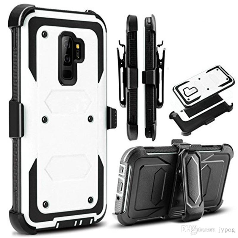 Phone Case for Samsung S9 3in1 Defender Case Hard Rugged High Impact with Dust Plug and Swivel Belt Clip Case for S9