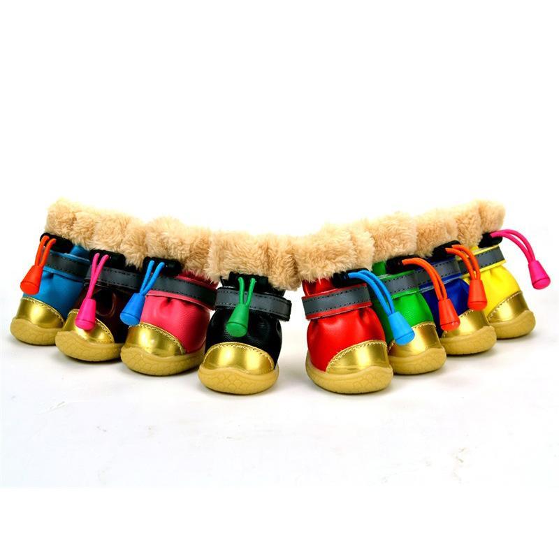 حار كلب صغير الكلب الشتاء أحذية الخريف الشتاء 4 قطعة / المجموعة الكلب الأحذية المضادة للانزلاق للماء القطن سوبر دافئ XS-XL تشيهواهوا