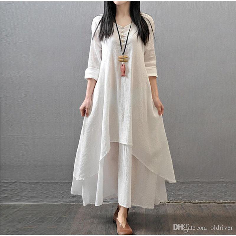 Lose Vintage Elegante Frauen Großhandel Kleid Baumwolle Leinen Und QhCdtrs