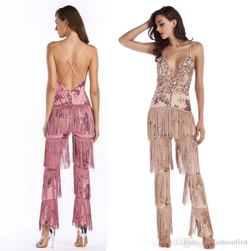 fb95d67fc3336 Fashion New 2019 White Black Apricot Gold Slinky Tassels Metallic Glitter  Jumpsuit Disco Sexy V Neck Strap Sequin Catsuit Bodysuit9