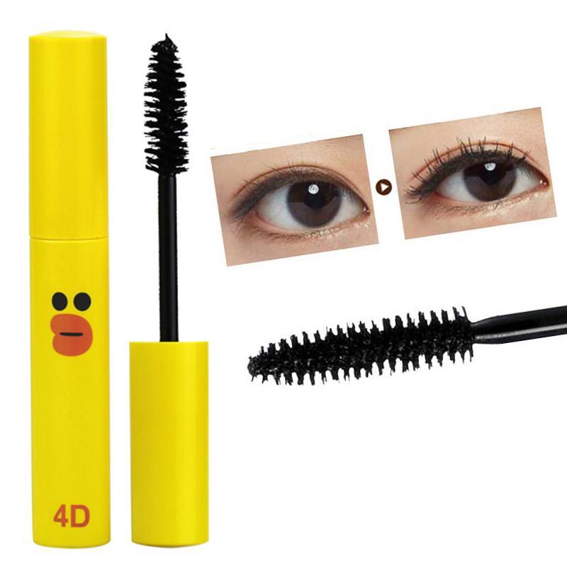 Cute Duck Mascara maquillaje profesional que se encrespa tratamientos de crecimiento de pestañas gruesas Cosméticos 4D Black Mascara Charmed Eye Lash ...