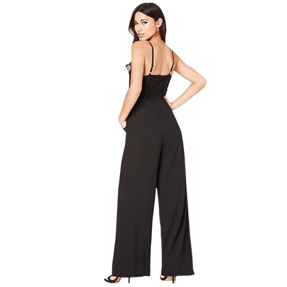 2018 Sexy Deep V Neck Chiffon Women Jumpsuit Overalls Halter Harness One Piece Pants Casual Straight Rompers Womens Jumpsuit