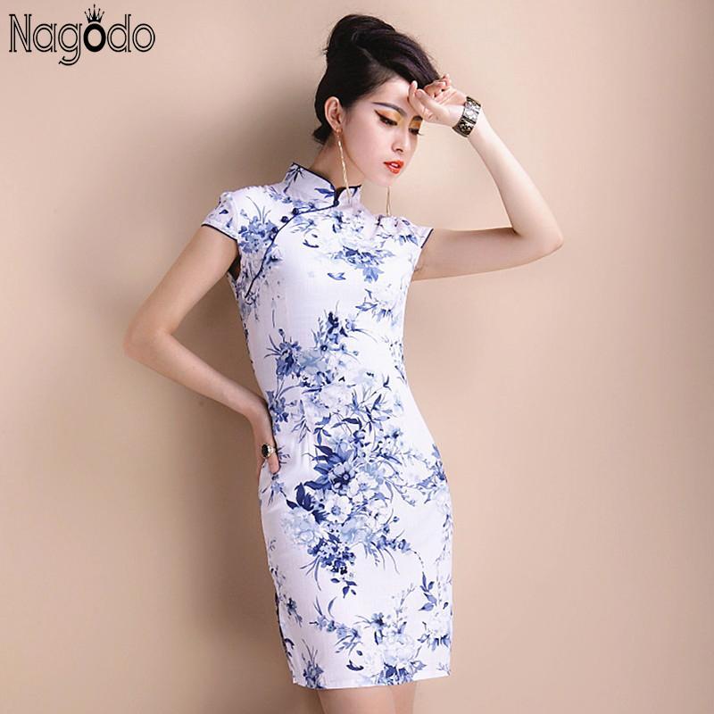 Elegant Cheongsam Dress Women S to 5Xl 2016 Chinese Short Retro Sexy ... 6388d39588f7