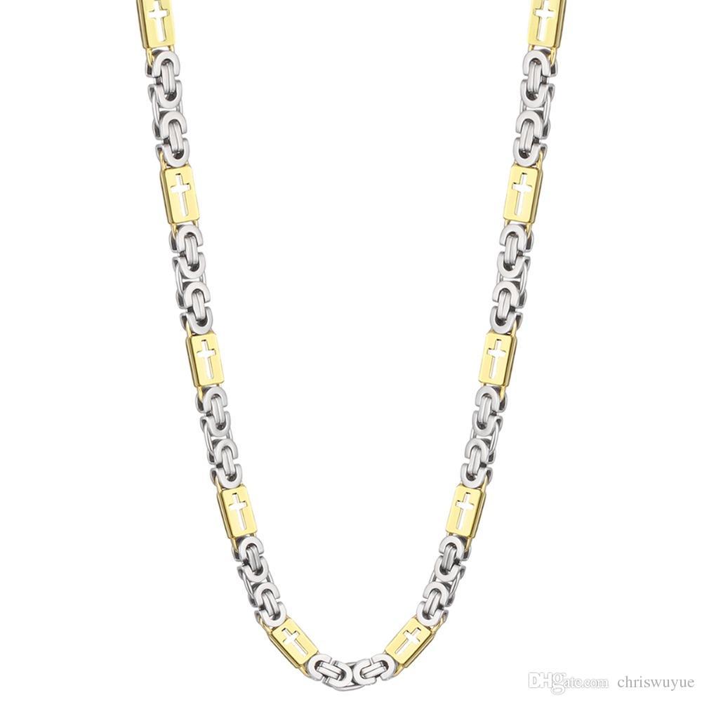 Cadena bizantina de oro para hombres de acero inoxidable Hollow Cross Metal Necklace hombres accesorios de regalo joyería de Hip Hop Chaine Collier