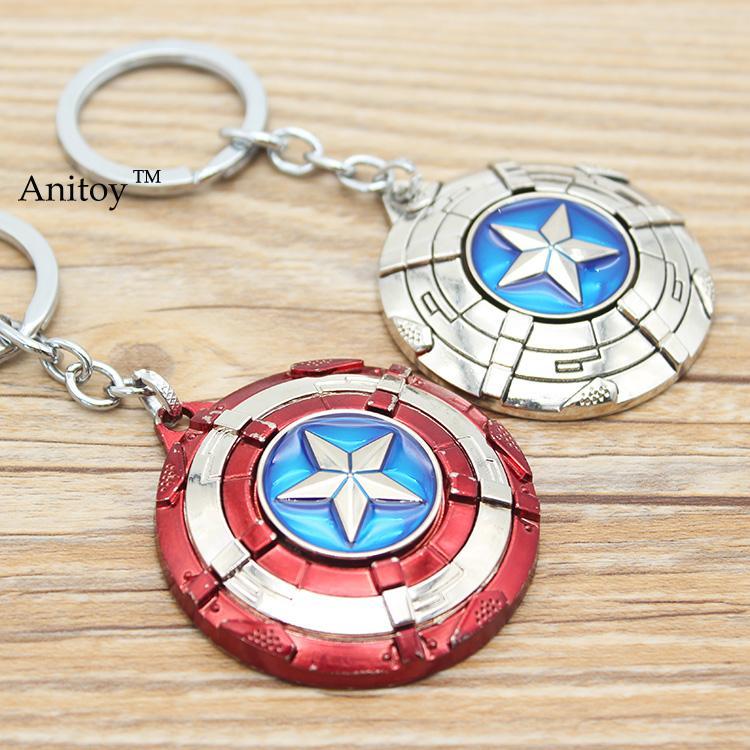 Captain America Key Chain Rotatable Shield Keychain Key Rings Jewelry for car Souvenir Chaveiro Drop-shipping KT2681