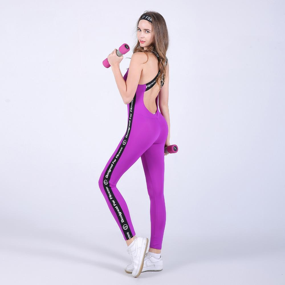 High Quality Fitness Jumpsuit Sporting Acrylic Patchwork Bodysuit cross straps back Playsuit Women Macacao Purple And Gray