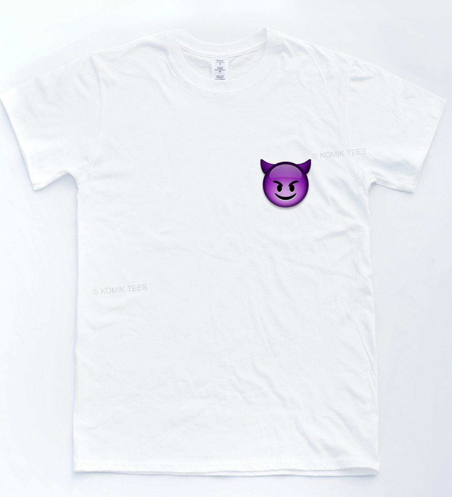 35d25133 Emoji Devil Cheeky T Shirt Horny DTF Meme Funny Indie Horns Tee Happy Face  Top Funny Unisex Casual Tshirt Printing On T Shirts Crazy T Shirts From ...
