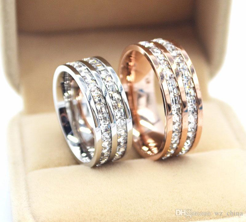 Paslanmaz Çelik Yüzükler Kadınlar İçin Tek / Çift İki Sıra Pırlanta Gül Altın / Gümüş / Altın Kaplama Alyans Bayan İçin Jewely BOX