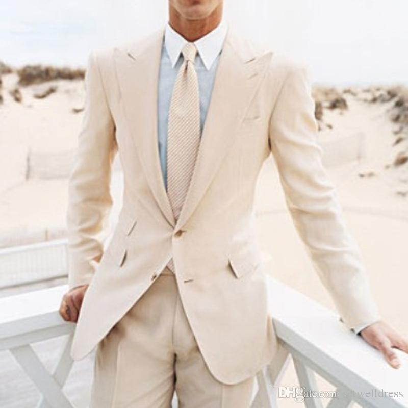 2018 New Fashion Beach Beige Men Suits Cheap Two Pieces Groomsmen Wear Peaked Lapel Two Button Wedding Suits Custom Made Jacket+Pants