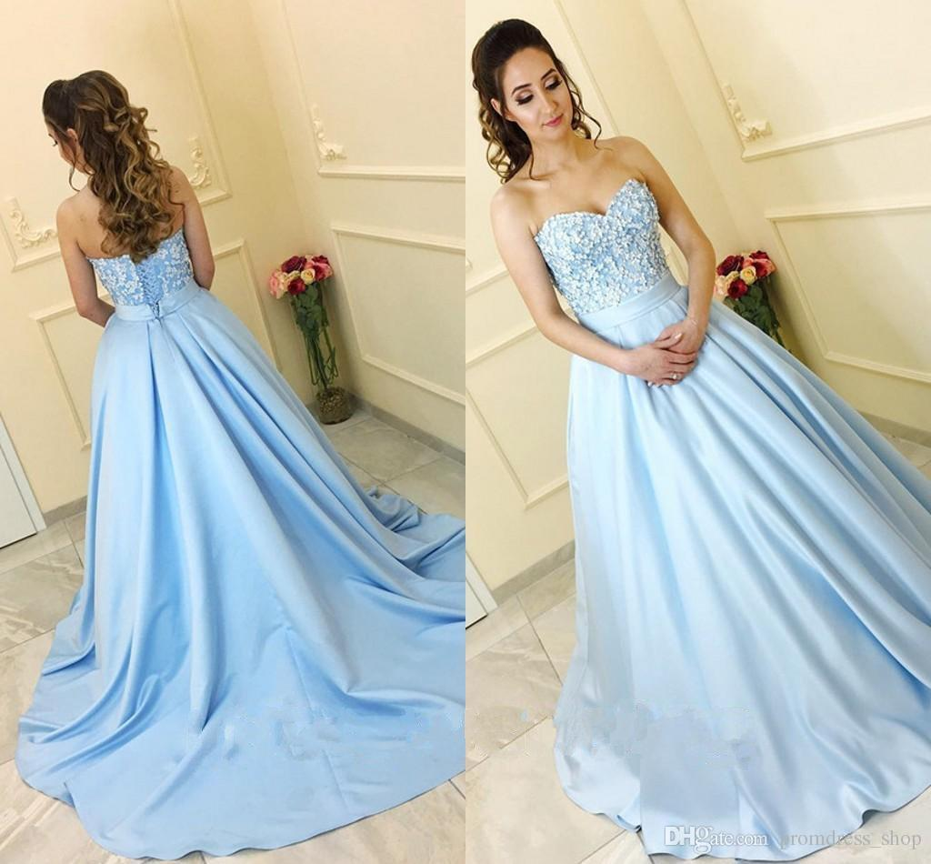 ac19b233ec3 2019 New Baby Blue Ball Gown Prom Dresses Sweetheart Ribbon Sash Corset  Lace Up Light Blue Satin Quinceanera Dresses Sweet 16 Dresses Unique Prom  Dress Prom ...