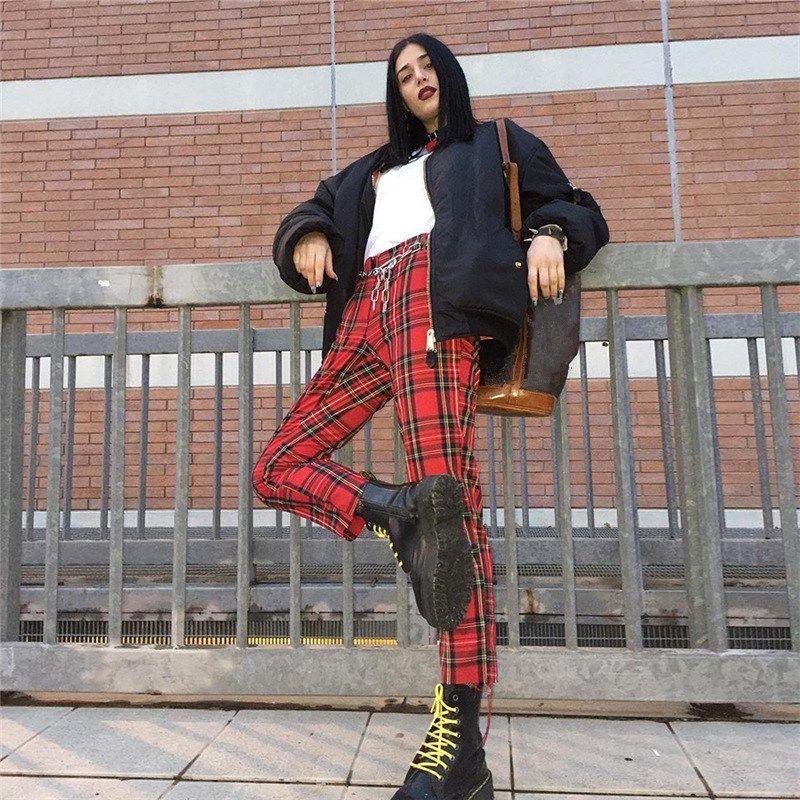 Hosen Bleistift Lose Plaid Punk Herbst Weibliche Karierten Retro Red Neue Streetwear 8kPO0wnX