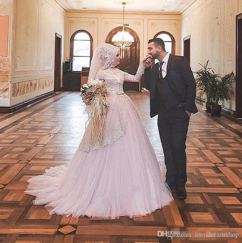2017 New Pink Saudi Arabic Muslim Wedding Dresses Dubai High Neck Lace Gold Embroidery A-line Tiers Sweep Train Bridal Gowns with Bow Belt