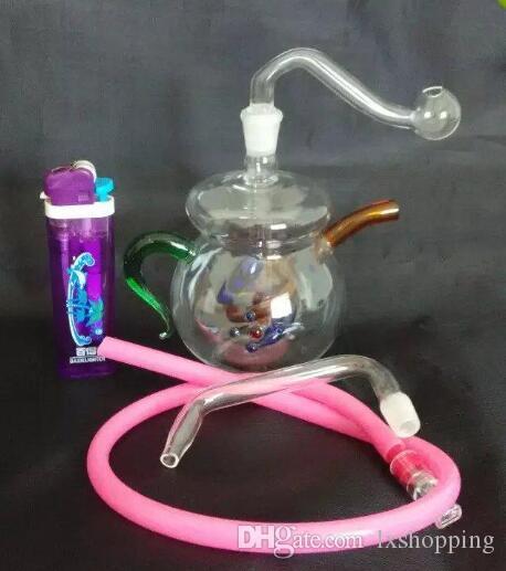 Farbe Glas Shisha Teekanne, einzigartige Ölbrenner Glasrohre Wasserleitungen Glasrohr Öl Rigs Rauchen mit Droppe GGFDFT