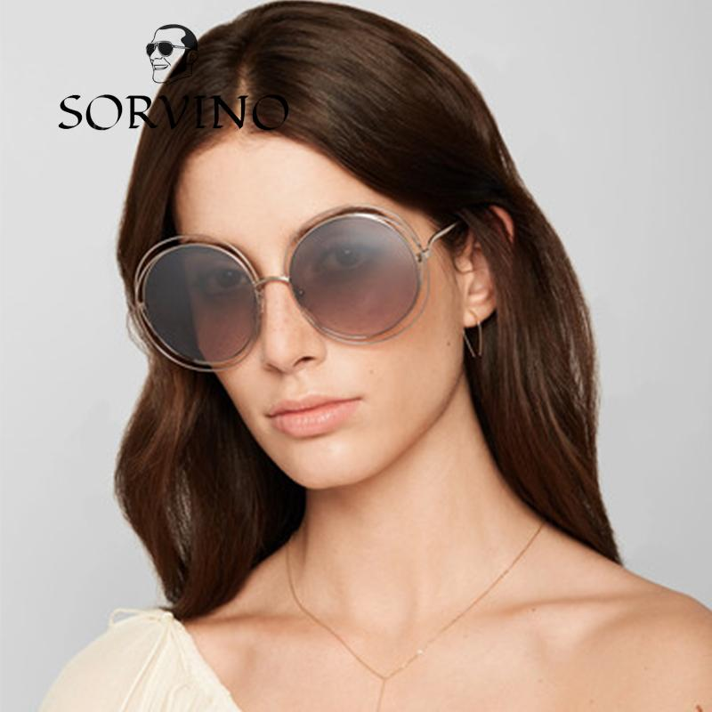 5c8213226ad SORVINO 2018 Oversized Women Metallic Carlina Round Sunglasses Vintage  Brand Designer Circle Metal Frame Lady Sun Glasses 478 Smith Sunglasses  Sunglasses At ...