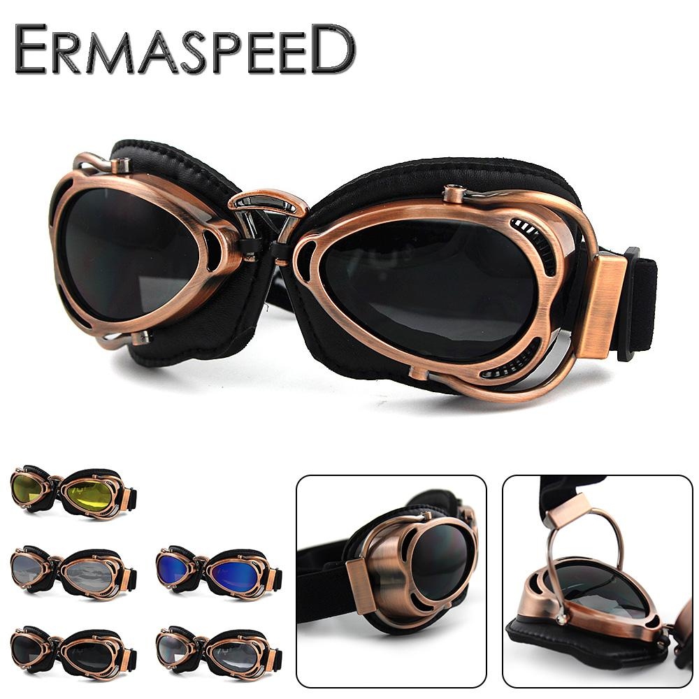 36620a87c4279 Motorcycle Helmet Goggles Pilot Aviator Retro Vintage PU Leather Riding Eye  Wear Copper For Harley Cruiser Chopper Cafe Racer Curve Sunglasses  Motorcycle ...